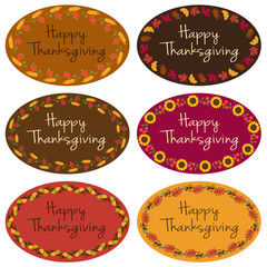 Happy Thanksgiving oval labels