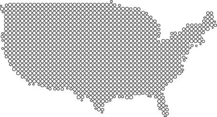 USA circles map. vector illustration
