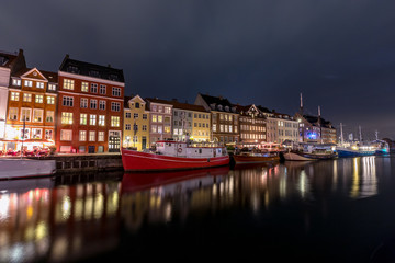 Scenic summer view of Nyhavn  in the Old Town of Copenhagen, Denmark