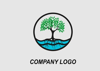 Tree and root in the water, circle logo design