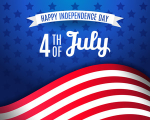 Fourth of July greeting card template. Happy Independence day USA 4 th July in United States of America. Vector illustration. EPS 10