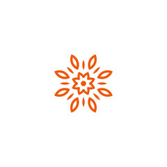 Flower vector linear logo. Orange line art sun icon. Outline garden abstract symbol.