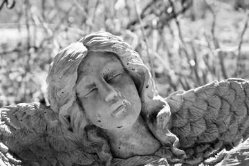 Concrete angel in winter garden, close up