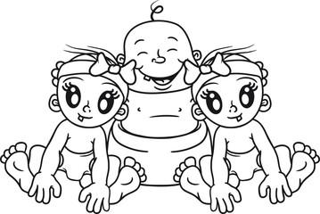 frauenheld 2 girls freundinnen mädchen hübsch schön harem dreier umarmen begrüßen glücklich dick fett sitzend klein süß niedlich windel kind baby comic cartoon