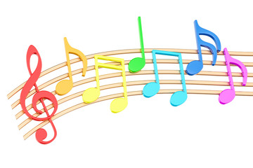 Colorful Music Notes, 3D rendering
