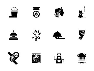 Housework personnel glyph style vector icons set