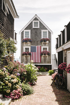 House with American Flag Provincetown, Cape Cod, Massachusetts