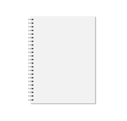 Notebook mock up isolated on white background. Blank pages, copybook with metal spiral template. Realistic closed notebook vector illustration.