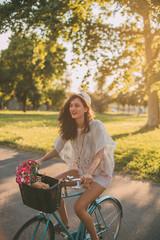 Woman with retro bike.