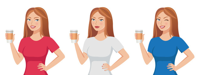 Pretty cute brown-haired girl holding a paper coffee cup template isolated on white background. Different emotions: serious, smiling, winking. Vector illustration