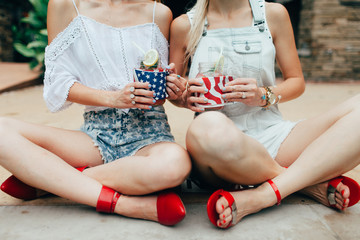 Two women celebrating 4th of July