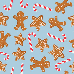 Seamless pattern of Christmas and New Year symbols. Gingerbread man, candy, cookies pattern on blue background. Vector illustration