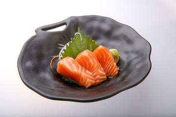 Salmon sashimi with wasabi, japanese traditional food.