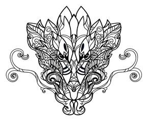 Dragon head hand drawn sketch.