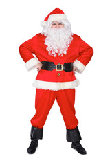 Santa Claus standing straight isolated on white background. Full length portrait