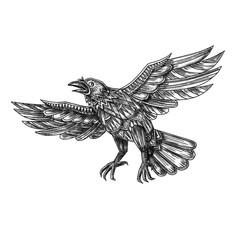Raven Flying Up Geometric Mandala Tattoo