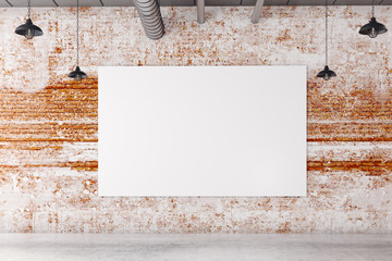 Brick interior with blank poster