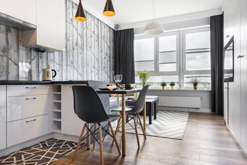 Fototapeta Modern small room with  kitchen obraz