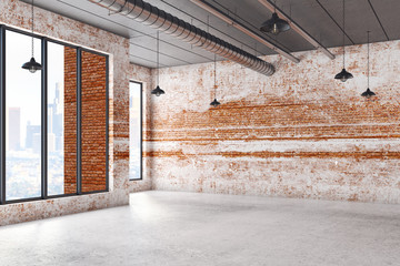 Interior with empty brick wall