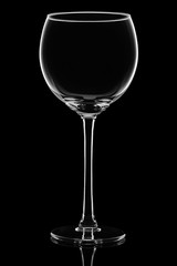 glass wine glass isolated on black background