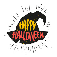 Color magic hat with lettering text Happy Halloween. Vector sticker.