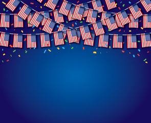 Garland USA Flags with blue Background, Template Banner, Hanging Bunting Flags for July 4th national holiday celebration, Vector illustration