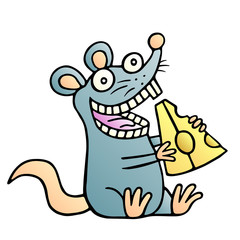 Cute mouse found a piece of cheese and happy. Vector illustration.