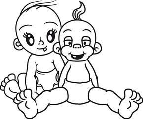 cool 2 brüder freunde geschwister team paar lachen glücklich sitzend klein süß niedlich windel kind baby comic cartoon