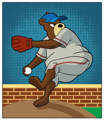 Bear Pitcher / A cartoon bear throws a baseball