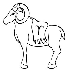 Aries -  ram with a blanket on it showing the symbol for Aries. Outline.