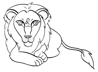 Leo - a lion laying down with the symbol of Leo on its forehead. Outline.