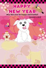 可愛い白い犬のハートがいっぱいのピンクの年賀状テンプレート