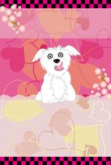 可愛い白い犬のハートがいっぱいのピンクのメッセージカード