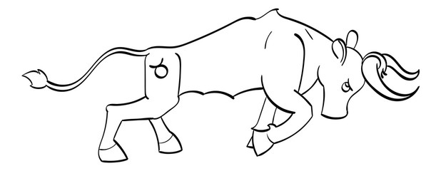 Taurus - a copper charging bull with the symbol of Taurus on its hind quarter. Outline.