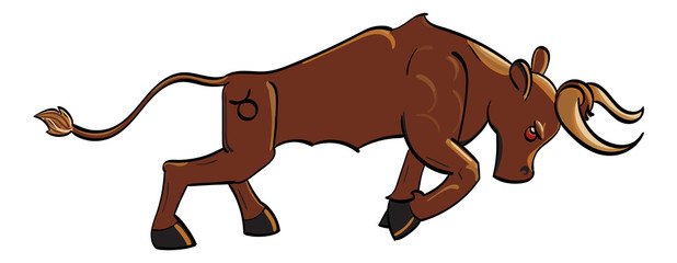 Taurus - a copper charging bull with the symbol of Taurus on its hind quarter.