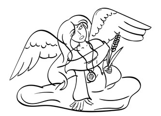 Virgo - an angel holding a piece of wheat with the symbol for Virgo on her medallion. Outline.