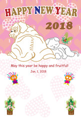 犬と猫のハートいっぱいのピンクの年賀状 2018