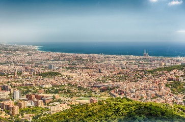 Aerial view from Tibidabo mountain over Barcelona, Catalonia, Spain