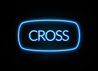 Cross  - colorful Neon Sign on brickwall