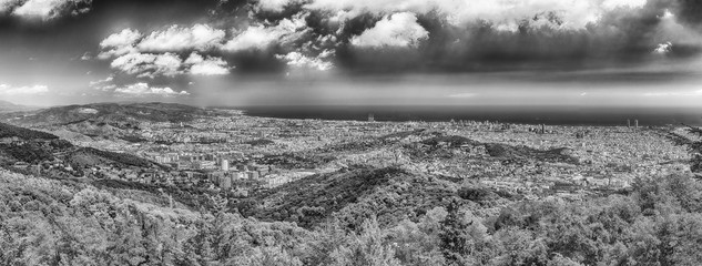 Panoramic view from Tibidabo mountain over Barcelona, Catalonia, Spain