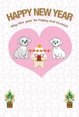 可愛い子犬とピンクのハート年賀状テンプレート