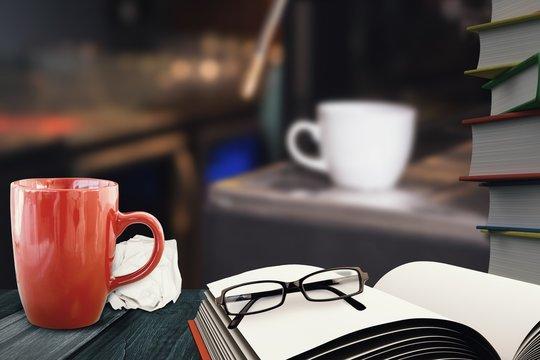 Composite image of white coffee mug