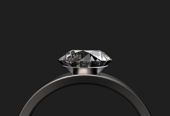 3d rendering. front view of luxury diamond ring on dark gray background with clipping path