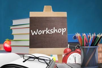 Composite image of workshop word