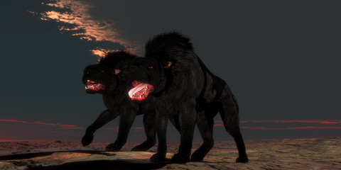 Two Hellhounds - Supernatural creatures of folklore and legend the Hellhound is a guardian of hell with glowing red eyes.