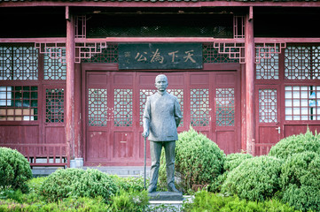 "Life-sized statue of ""the father of modern China"", Sun Yat-Sen in Yangshuo, China"