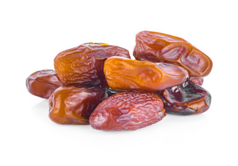 dried fruits from date palm isolated on white background