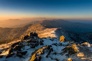Deogyusan mountains at sunrise in winter, South Korea.