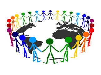 people circle with earth globe