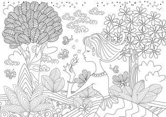 Fototapete - lovely young woman in happy forest for coloring book